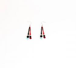Boucles d'oreilles : larimar - corail bambou - lave