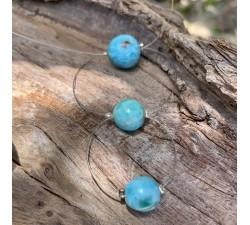 Collier : larimar boules de diamètre 8mm-10mm-14mm