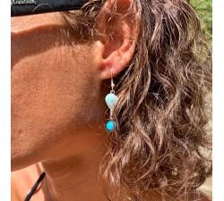 Boucles d'oreilles : larimar - howlite