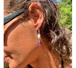 Boucles d'oreilles : larimar - améthyste