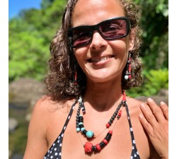 Collier : larimar - corail bambou - lave