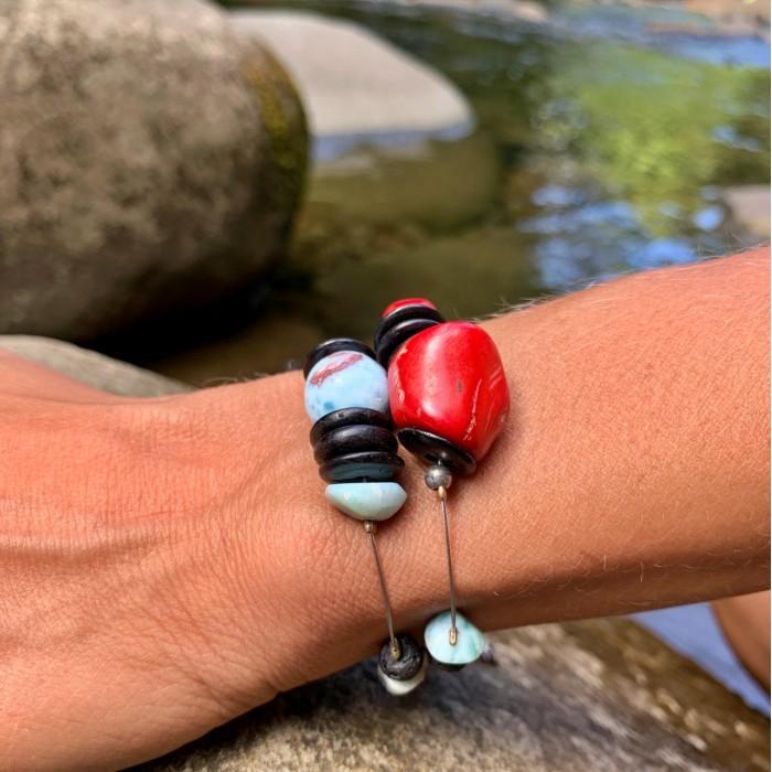 Bracelet : larimar - corail bambou - lave