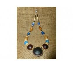 Corail Bambou rouge et orange perles argentées