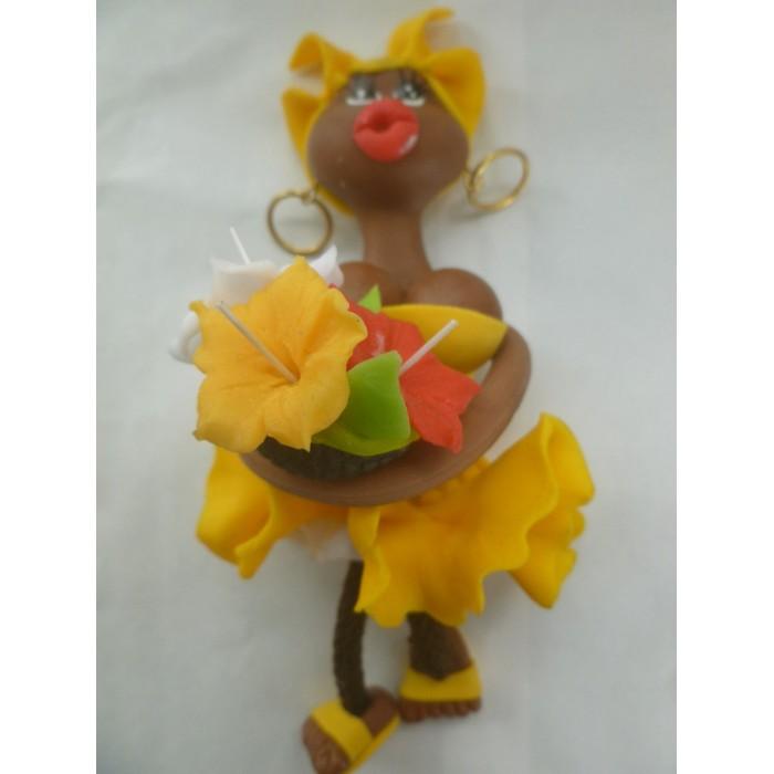 Magnet Doudou - Jaune canari - Fleurs