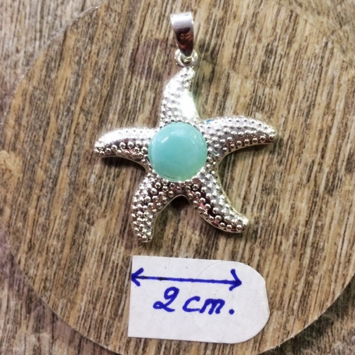 Pendentif : larimar - étoile de mer