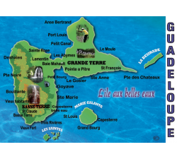 Magnet : carte de la Guadeloupe 2 - rectangle