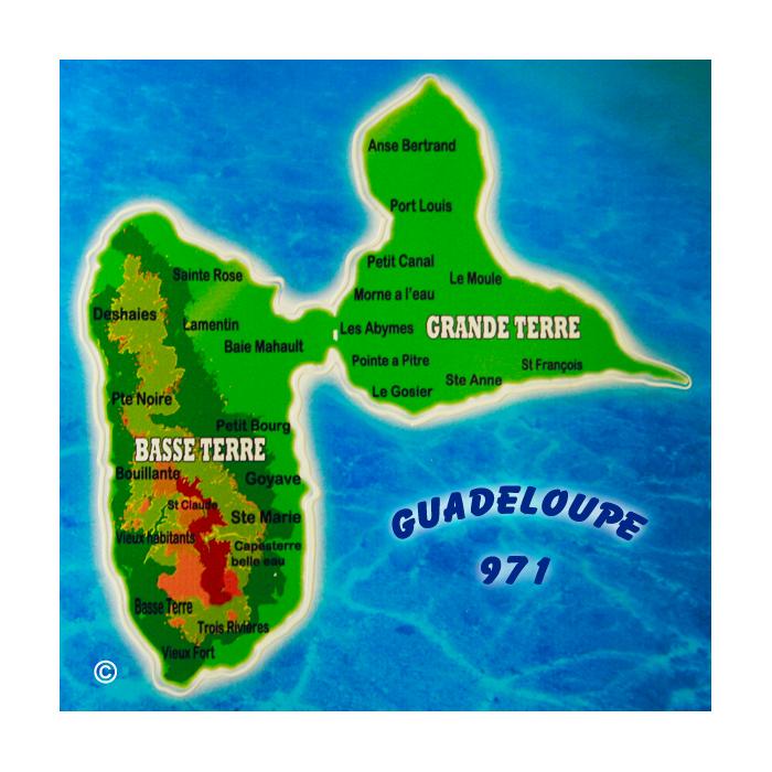 Magnet carré - Carte de la Guadeloupe 1