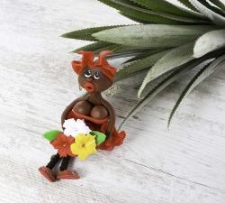Magnet : doudou - rouge - fleurs
