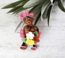 Magnet : doudou - fuchsia - fleurs