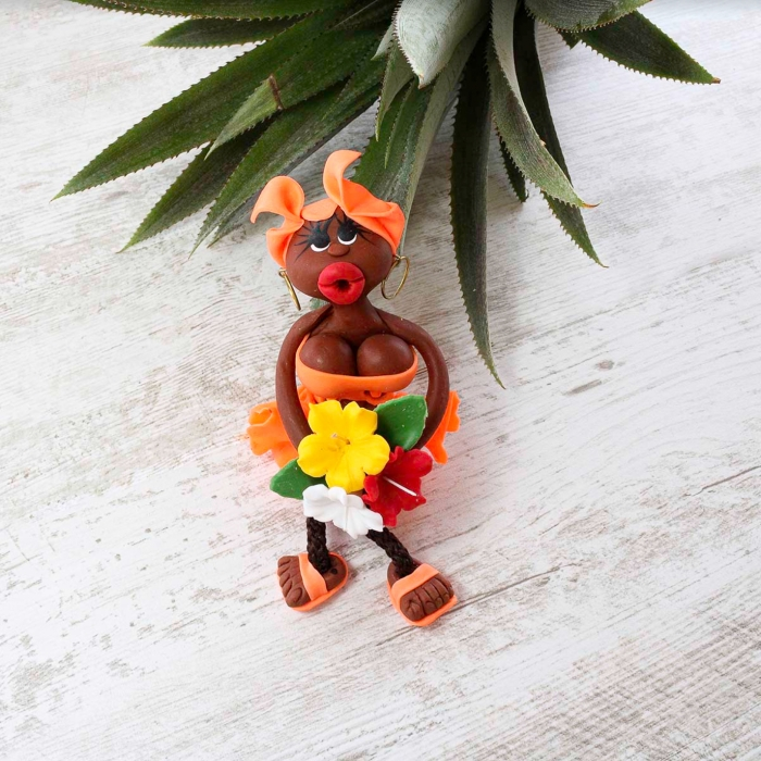 Magnet : doudou - orange - fleurs