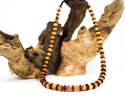 collier : oeil du tigre gold - rondelles Masaï